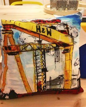 Harland & Wolff Cranes Cushion-0