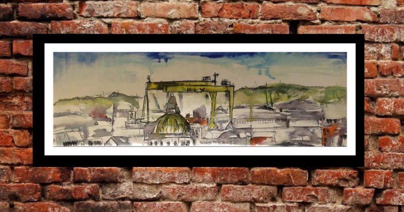Original Painting – Harland & Wolff Cranes