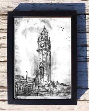 Belfast's Albert Clock Print on Canvas - Framed in Black-0