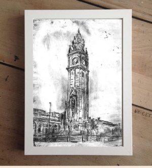 Belfast's Albert Clock Print on Canvas - Framed in White-0