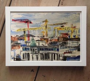Belfast Rooftops Print on Canvas - Framed in White-0
