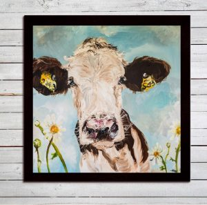 Daisy Print on Canvas - Framed in Black-0