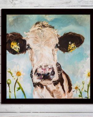 Daisy Print on Canvas - Framed in Black-0