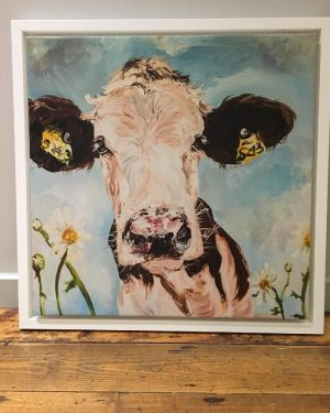 Daisy Print on Canvas - Framed in White-0