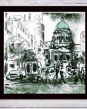 Belfast City Hall Print on Canvas - Framed in Black-0