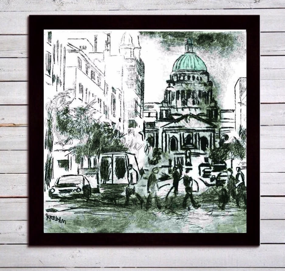 Belfast city hall print on canvas framed in black 0
