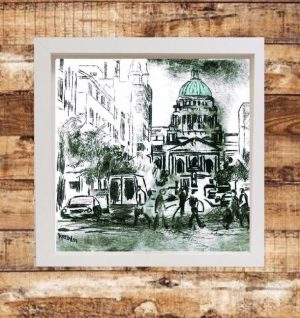 Belfast City Hall Print on Canvas - Framed in White-0