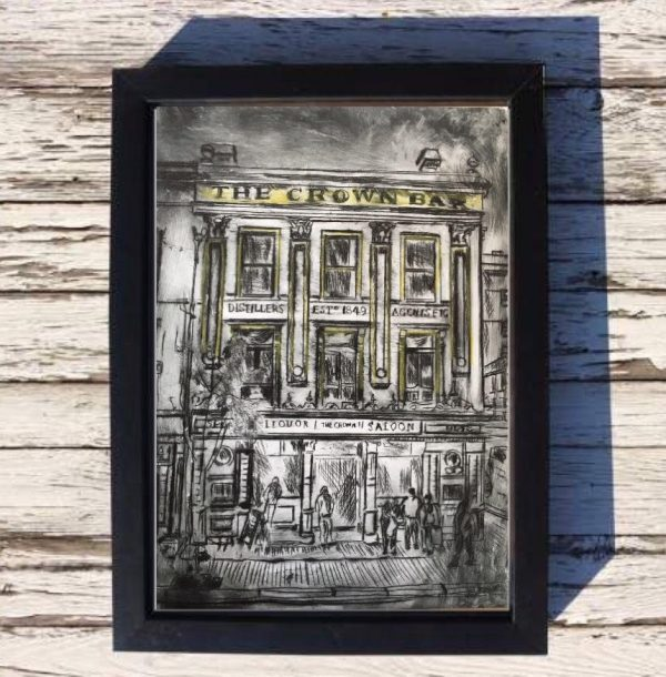 Belfast's Crown Bar Print on Canvas - Framed in Black-0