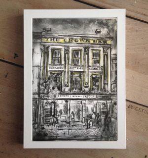 Belfast's Crown Bar Print on Canvas - Framed in White-0