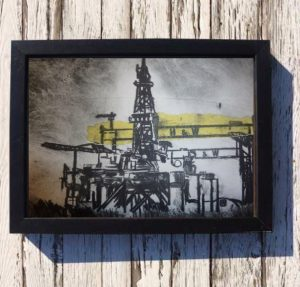 H&W Oil Rigs Print on Canvas - Framed in Black-0