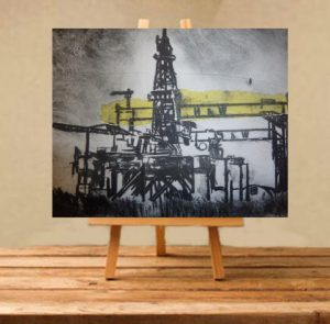 H&W Oil Rigs Print on Canvas - Unframed-0