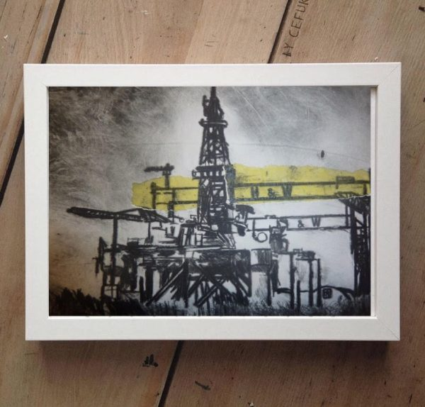 H&W Oil Rigs Print on Canvas - Framed in White-0