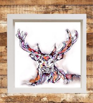 Reflections Print on Canvas - Stag - Framed in White-0