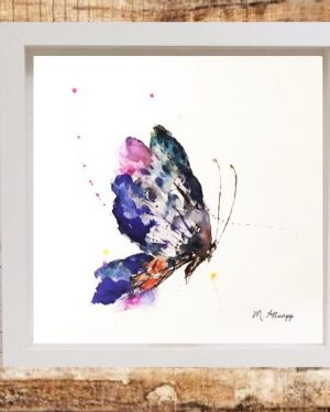 Butterfly Print on Canvas - Framed in White-0