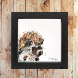 Spike Print on Canvas - Framed in Black-0
