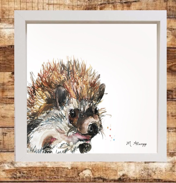 Spike Print on Canvas - Framed in White-0
