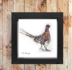 Pheasant Print on Canvas - Framed in Black-0