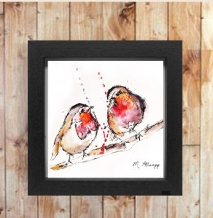 Robins Print on Canvas - Framed in Black-0