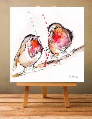 Robins Print on Canvas - Unframed-0