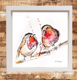 Robins Print on Canvas - Framed in White-0