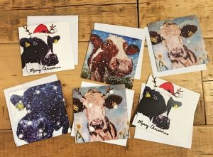 Pack of 6 Greeting Cards - Christmas Cows-0