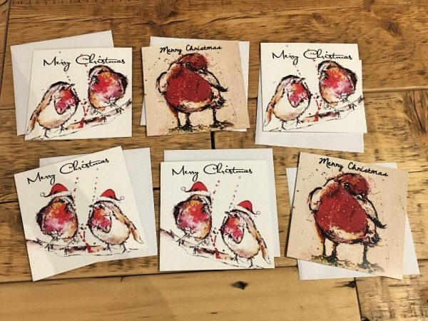 Pack of 6 Greeting Cards - Christmas Robins-0