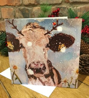 Individual Greeting Card - Christmas Daisy with Antlers-0