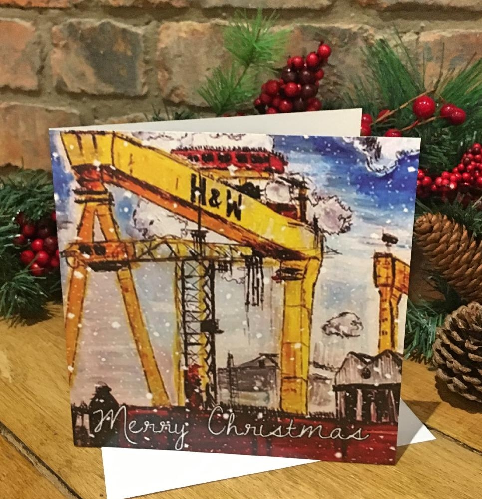Individual Greeting Card - Christmas Cranes - Marie-Claire Fine Art