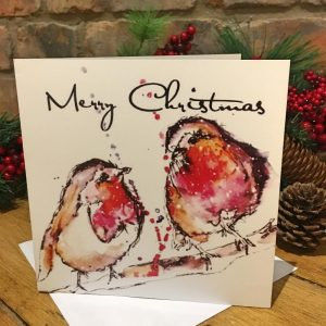 Individual Greeting Card - Two Robins-0