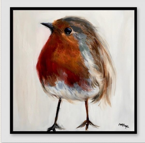 Robin Chick Print on Canvas - Framed in Black-0