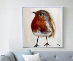 Robin Chick Print on Canvas - Framed in White-0