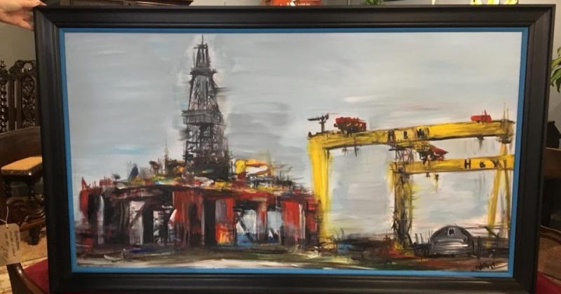 Original Painting – Harland & Wolff Cranes and Oilrig