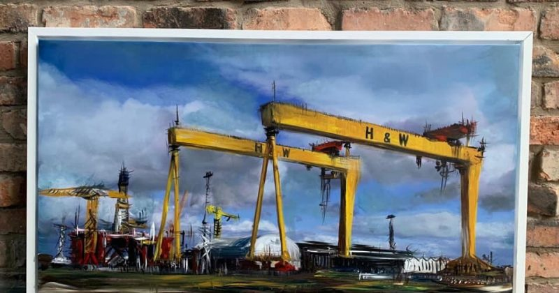 Original Painting – Harland & Wolff Cranes in the Clouds